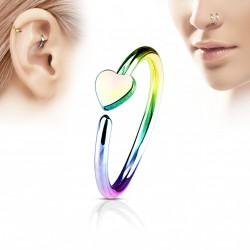 Piercing anneau 8 x 0,8mm avec un coeur arc en ciel Vuw NEZ118