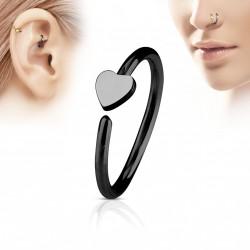 Piercing anneau 8 x 0,8mm avec un coeur noir Viko NEZ118
