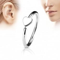Piercing anneau 8 x 0,8mm avec un coeur acier Volaz NEZ118