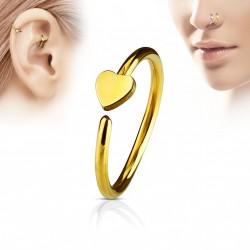 Piercing anneau 8 x 0,8mm avec un coeur doré Vahy