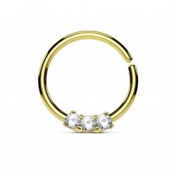 Piercing anneau doré 10 x 1,2mm et trois zirconiums blanc Boju NEZ119