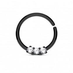 Piercing anneau noir 10 x 1,2mm et trois zirconiums blanc Saq NEZ119