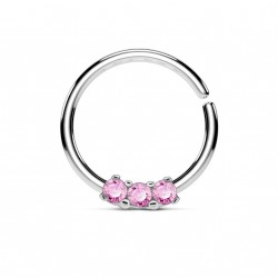 Piercing anneau acier 10 x 1,2mm et trois zirconiums rose Kiko NEZ119