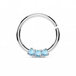 Piercing anneau acier 10 x 1,2mm et trois zirconiums bleu Hady NEZ119