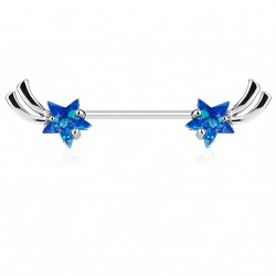 Piercing téton 14mm avec étoiles bleu en opaline Waf TET013