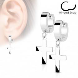 Boucle anneau oreille acier et croix Kore ANN084