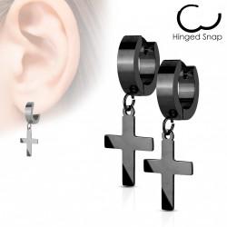 Boucle anneau oreille acier et croix noire Kehu ANN084