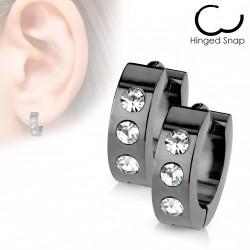 Boucles d'oreilles noire avec trois zirconiums Cuyt ANN051