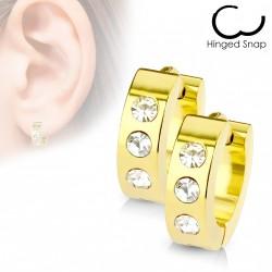 Boucles d'oreilles doré avec trois zirconiums Cuxy ANN051