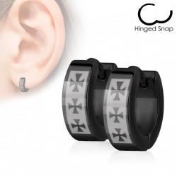 Boucles anneaux d'oreilles noir avec trois croix celtique Lexa ANN010