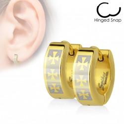 Boucles anneaux d'oreilles doré avec trois croix celtique Lejuk ANN010