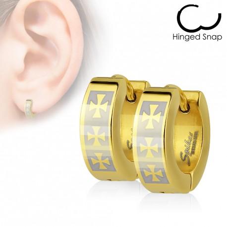 Boucles anneaux d oreilles doré avec trois croix celtique Lejuk - 6... cbb70d82b39