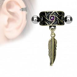 Piercing cartilage hélix tribal antique avec une plume Xase HEL058