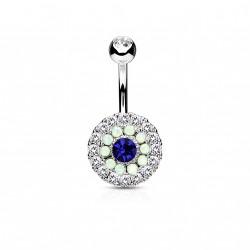 Piercing nombril avec trois cercles en zirconiums et opalines bleu Bohi NOM398