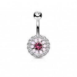 Piercing nombril avec trois cercles en zirconiums et opalines rose Buko NOM398
