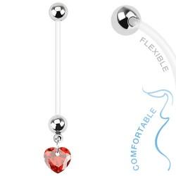 Piercing nombril grossesse coeur rouge Cuxo NOM381