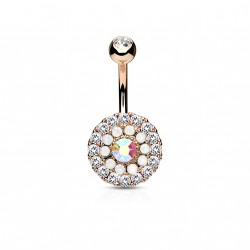 Piercing nombril or rose avec trois cercles en zirconiums et opalines Bafux Piercing nombril7,99 €