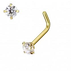 Piercing nez coudé doré avec un zirconium blanc 3mm Kas NEZ121