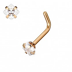 Piercing nez coudé or rose square en zirconium blanc 2,5mm Pax NEZ123