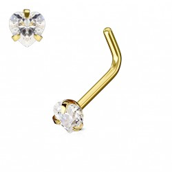 Piercing nez coudé doré avec un cœur en zirconium blanc 3mm Oko NEZ124