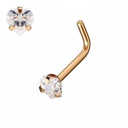 Piercing nez coudé or rose avec un cœur en zirconium blanc 3mm Owa Piercing nez2,90€