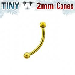 Piercing arcade 10mm doré avec boules 2mm Coka ARC048