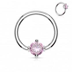 Piercing anneau de 10 x 1,2mm avec un zirconium rose Wol HEL059