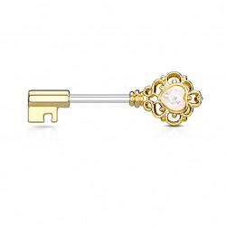 Piercing téton 10mm doré en forme de clé avec opaline blanche Wik TET019