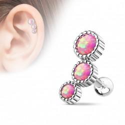 Piercing oreille tragus avec trois pierres en opaline rose Buk TRA106