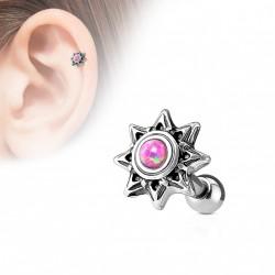 Piercing oreille tragus hélix tribal avec une opaline rose Bik TRA107