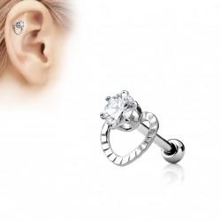 Piercing oreille tragus hélix cœur avec un zirconium blanc Dauw TRA108