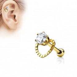 Piercing oreille doré tragus hélix cœur avec un zirconium jaz TRA108