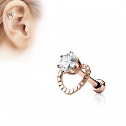 Piercing oreille or rose tragus hélix cœur avec un zirconium Padu TRA108