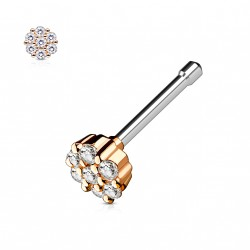 Piercing nez droit or rose bijou orné de zirconium blanc Oko NEZ125