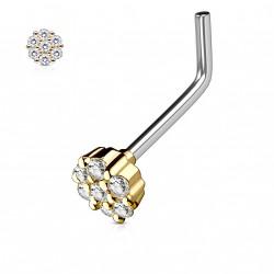 Piercing nez coudé doré bijou orné de zirconium blanc Huj NEZ126