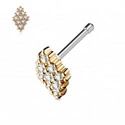 Piercing nez droit or rose losange orné de zirconium blanc Owaz NEZ127