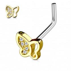 Piercing nez coudé doré papillon orné de zirconium blanc Komi NEZ129