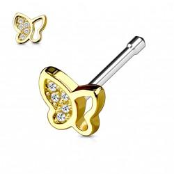 Piercing nez droit doré papillon orné de zirconium blanc Axaz