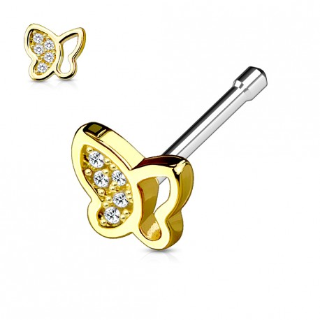 Piercing nez droit doré papillon orné de zirconium blanc Axaz NEZ130
