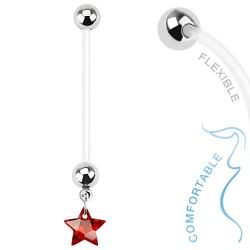 Piercing nombril grossesse étoile rouge Cyr NOM382