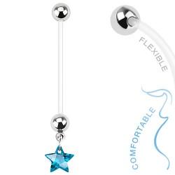 Piercing nombril grossesse étoile bleu Cory NOM382