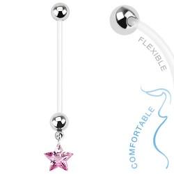 Piercing nombril grossesse étoile rose Cury NOM382