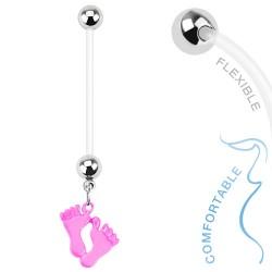 Piercing nombril grossesse avec pieds rose Cary NOM384
