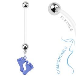 Piercing nombril grossesse avec pieds bleu Gas NOM384