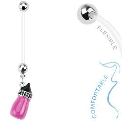 Piercing nombril grossesse biberon rose foncé Tux NOM386
