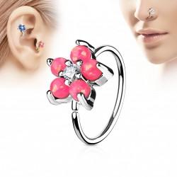 Piercing anneau tragus nez hélix 8 x 0,8mm avec une fleur rose Kagy TRA039