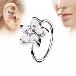 Piercing anneau tragus nez hélix 8 x 0,8mm avec une fleur blanche Kyx TRA039
