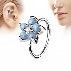 Piercing anneau tragus nez hélix 8 x 0,8mm avec une fleur bleu Oyx TRA039
