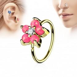 Piercing anneau doré tragus nez hélix 8 x 0,8mm avec une fleur rose Kay TRA073