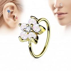 Piercing anneau doré tragus nez hélix 8 x 0,8mm avec une fleur blanche Naz TRA073